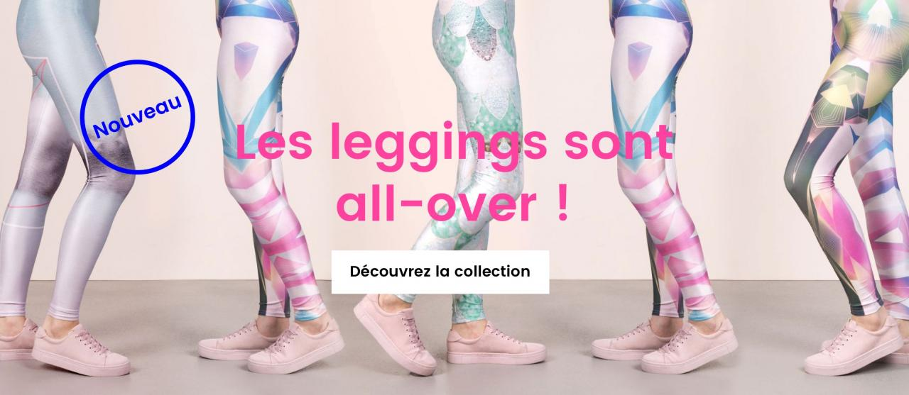 Cinq paires de jambes de femme avec des leggings imprimés