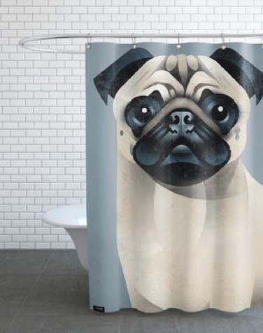 grey juniqe shower curtain with large pug dog print in a bathroom