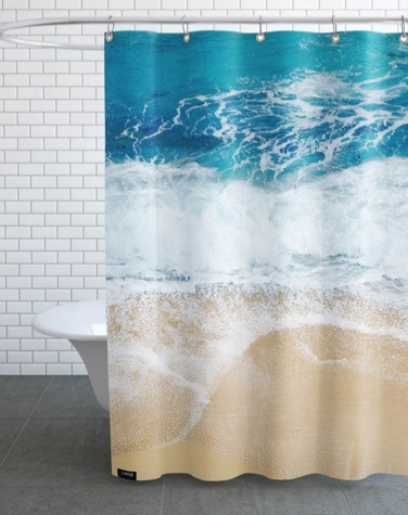 Shower curtain with a beach and ocean