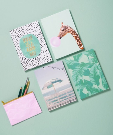 notebooks with giraffe, leaf and umbrella designs