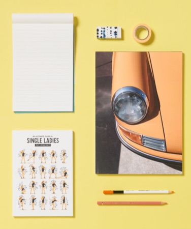 notepads from JUNIQUE with beyonce single ladies and classic car designs