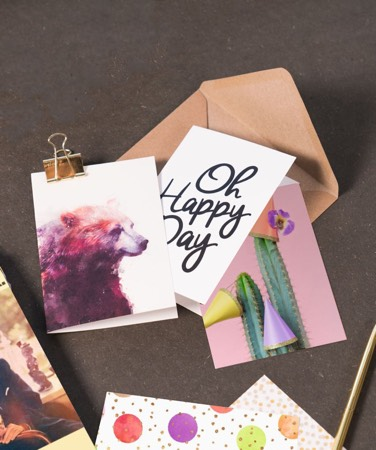 Greeting cards with bear print and typography design