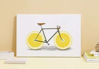 lemon bike canvas print on table