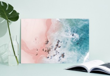 aereal ocean and beach photograph printed on acrylic glass
