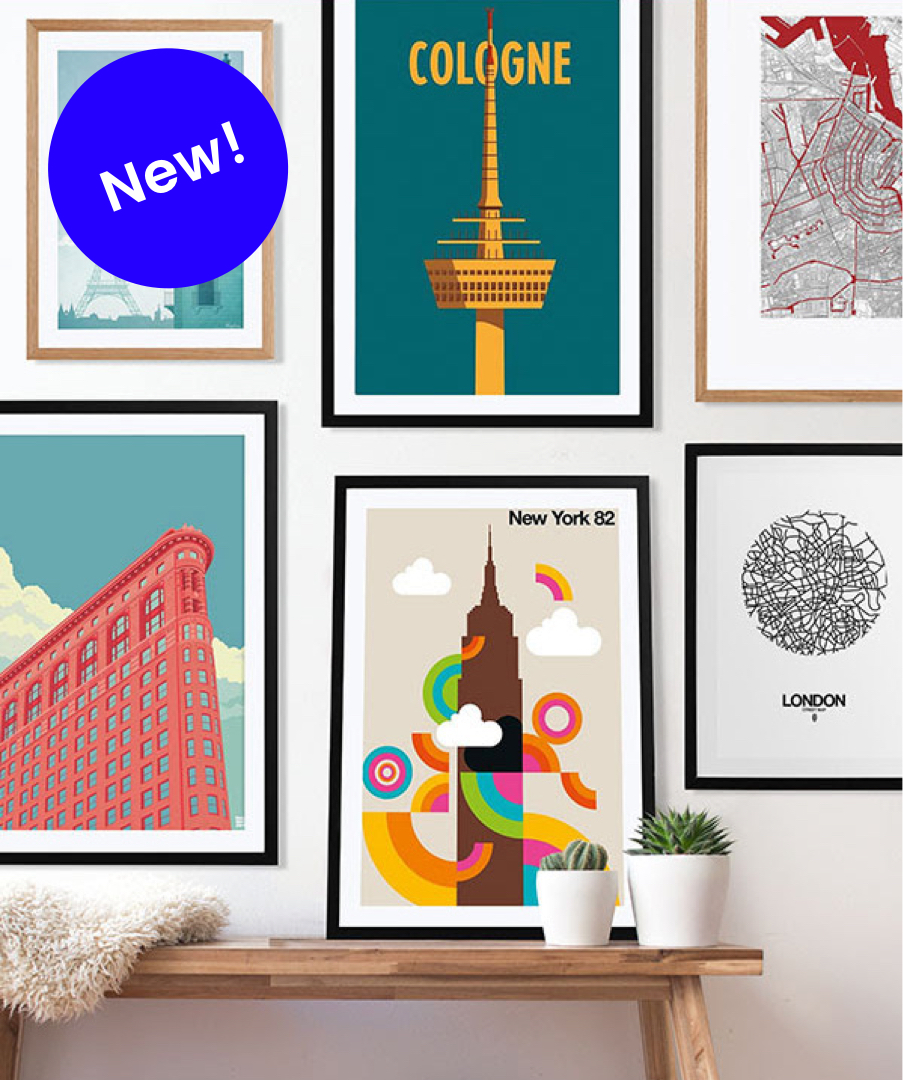 juniqe gallery wall with colourful new york london cologne city prints in wooden frames