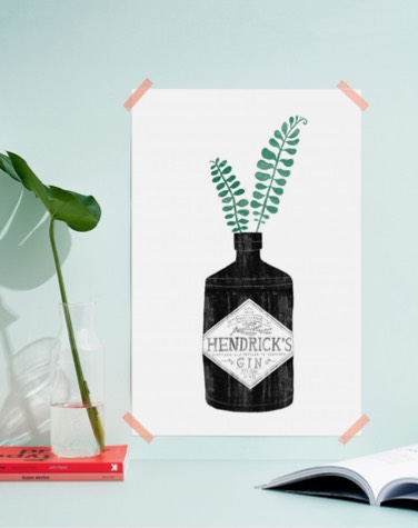 poster taped to wall illustrating a gin bottle and plants
