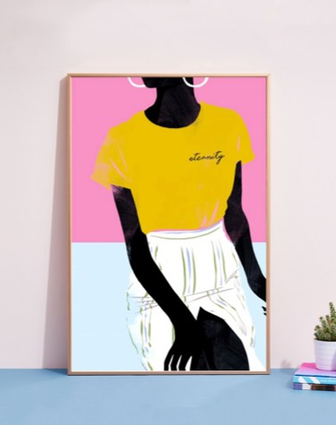 colourful print with woman in junique aluminium frame leaning against the wall