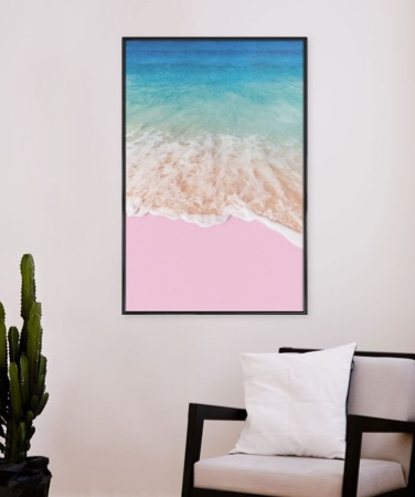 Beach poster with pink sand in a standard frame