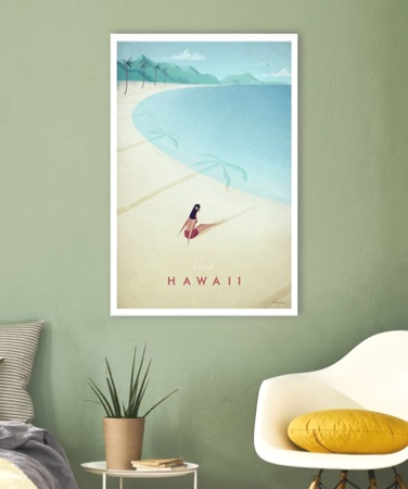 Hawaii poster against a pale green wall
