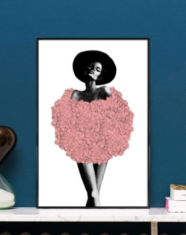 Framed poster with illustration of woman in rose costume