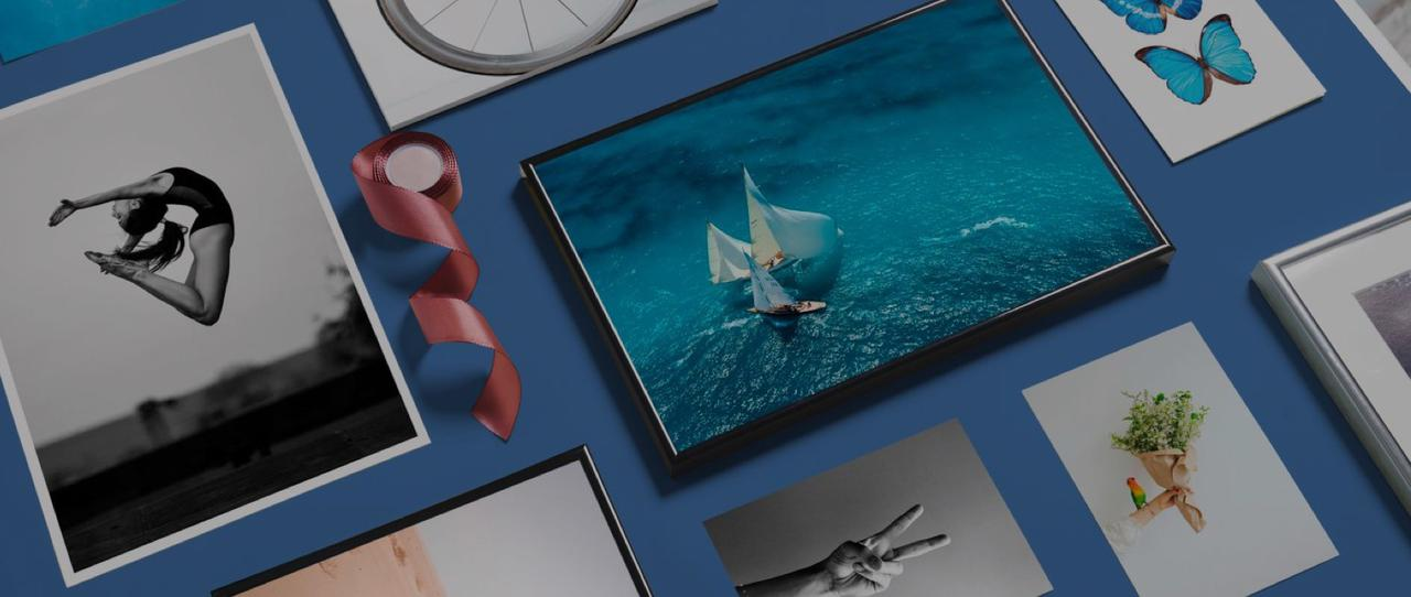 framed photography with gymnastics and sailing motifs