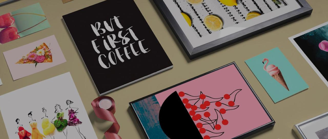 wall art and stationery with but first coffee, cherry and lemon motifs