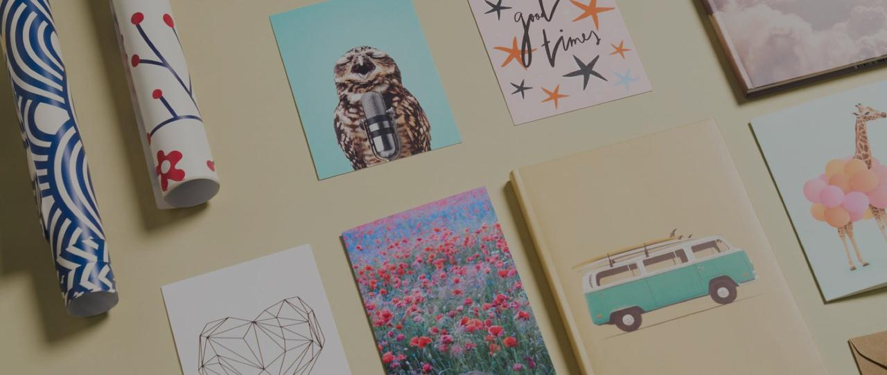 greeting cards, notebooks and postcards featuring geometric heart, singing owl and more from JUNIQE