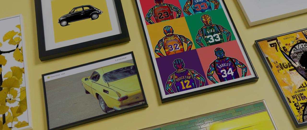 framed basketball and classic car prints from JUNIQE
