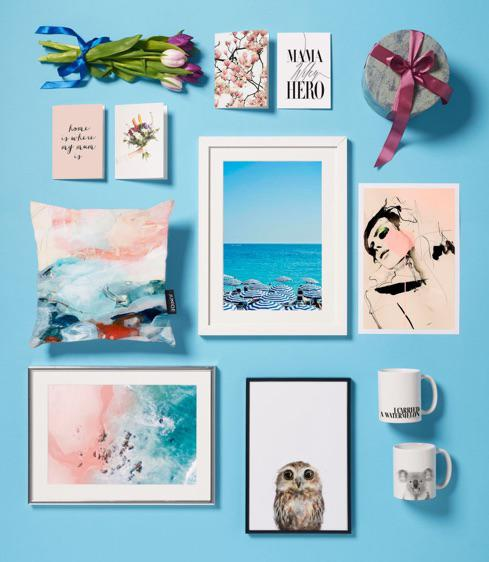framed beach print and cushion, owl poster, mugs and mothers day cards