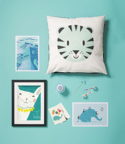 cute tiger cushion, framed cat print, elephant poster and whale with balloons greeting card