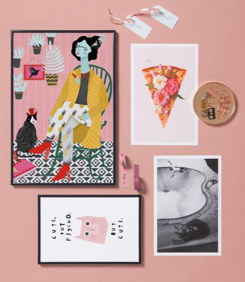poster met pizza design, kattenillustratie en ingelijste poster met vrouw