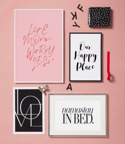 prints featuring our happy place, namastay in bed and love motifs