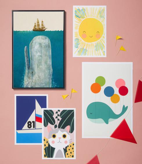 kids posters with moby, balloon whale, smiling sunshine and cat designs