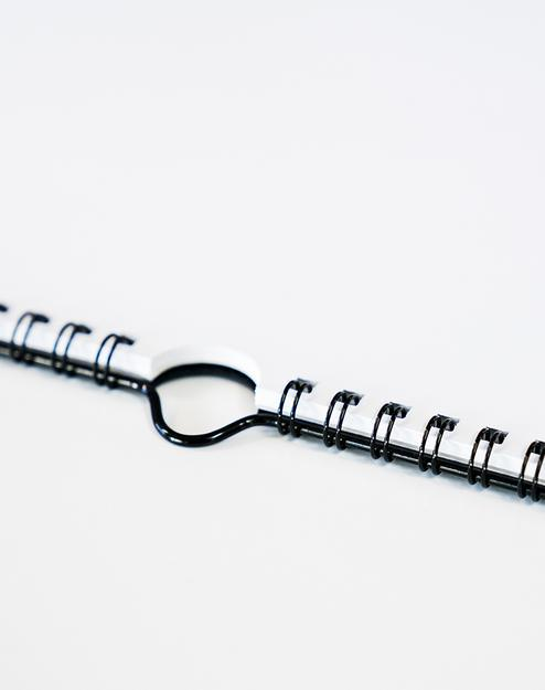 Spiral bound binding.