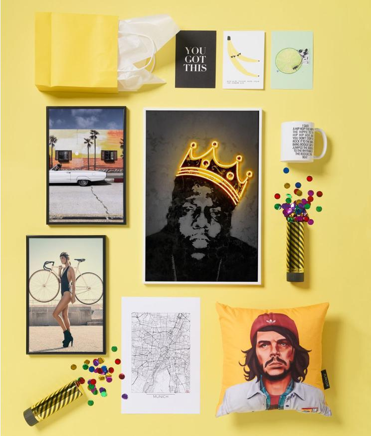 che guevara cushion, notorious BIG print, classic car poster and more gifts from JUNIQE