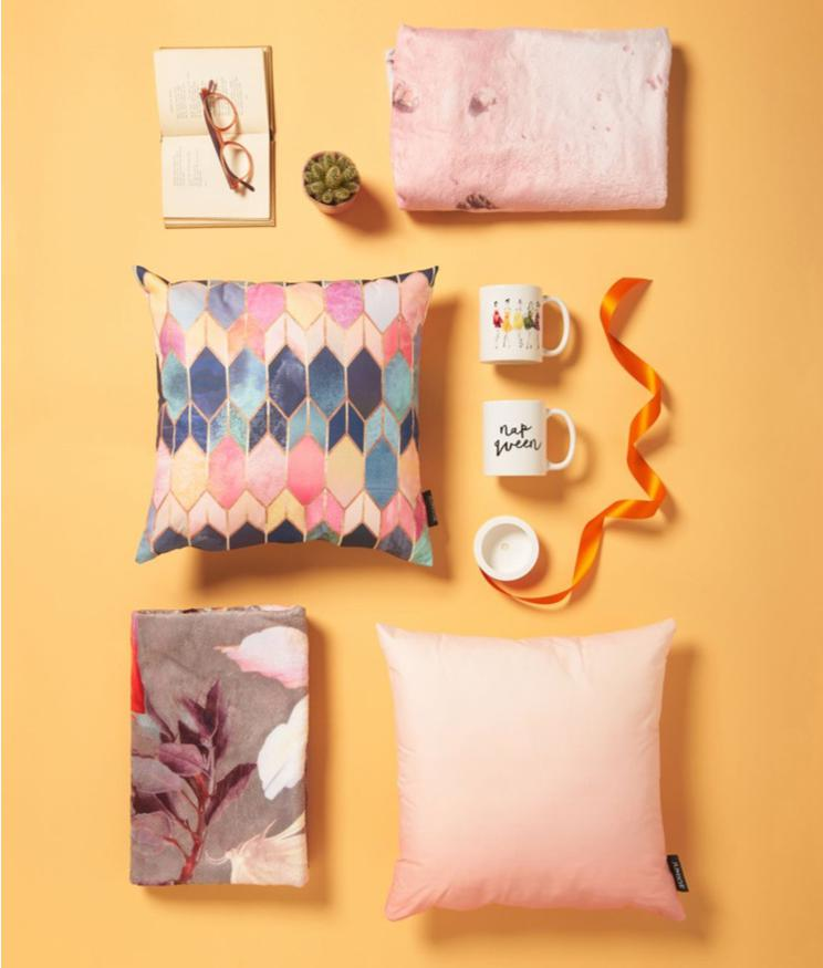 cushions, beach towels and mugs with pastel coloured designs from JUNIQE