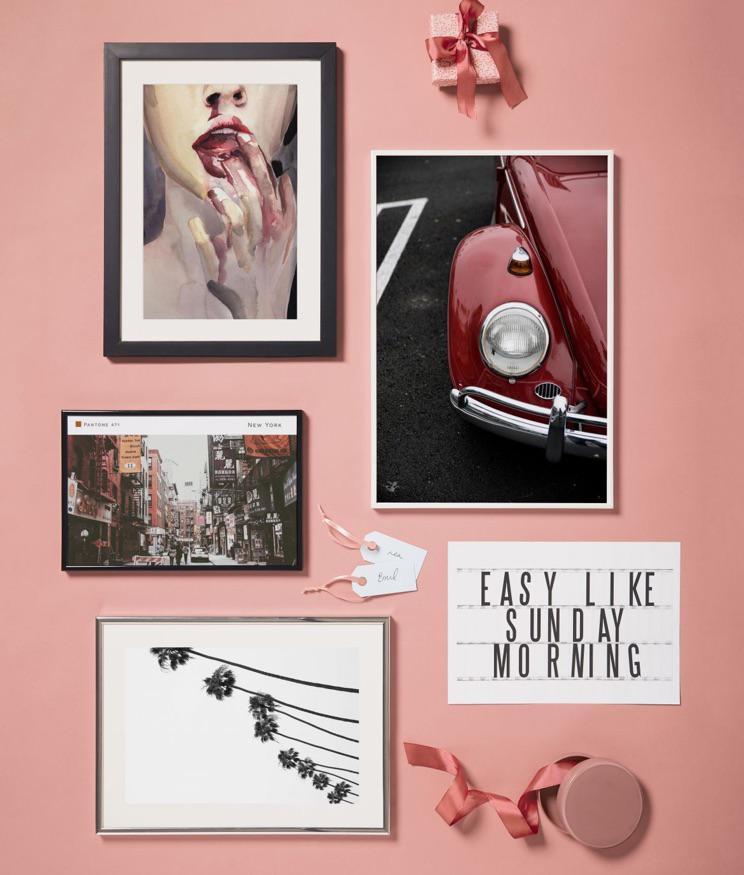posters met klassieke auto, palmbomen en new york design