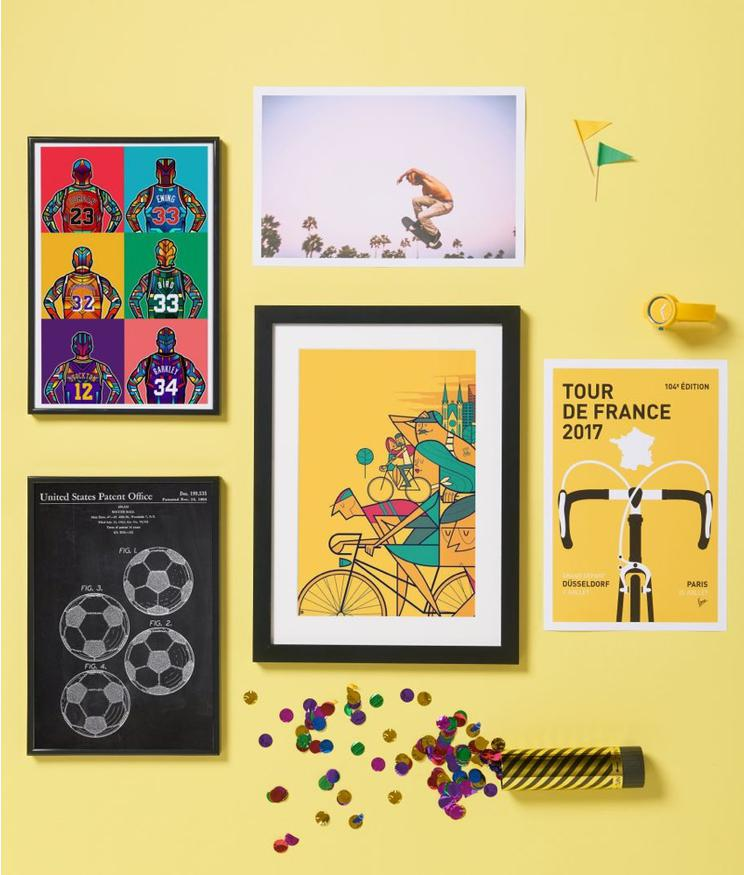 basketball, football, cycling and skateboard prints