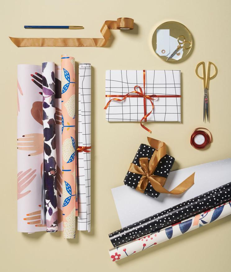 wrapping paper with floral, illustrated and geometric patterns