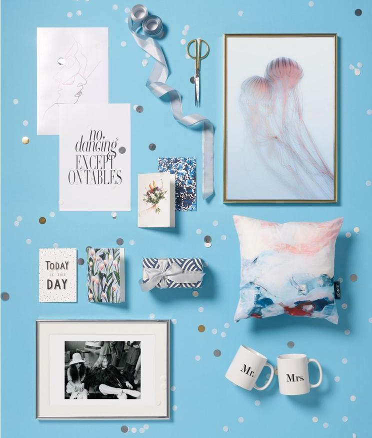 cushions, prints, mugs and cards with wedding themed motifs and designs from JUNIQE