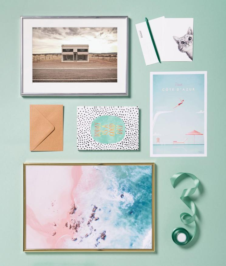 framed beach design, illustrations and a card postcard by JUNIQUE