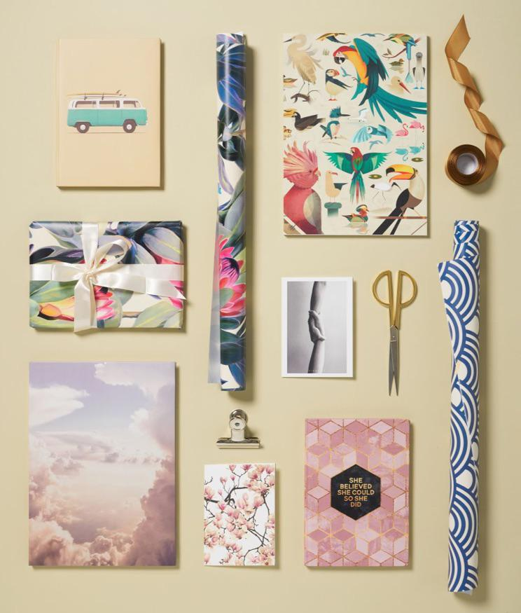 wrapping paper, notebooks and notepads with VW bus, tropical birds and cherry blossom designs