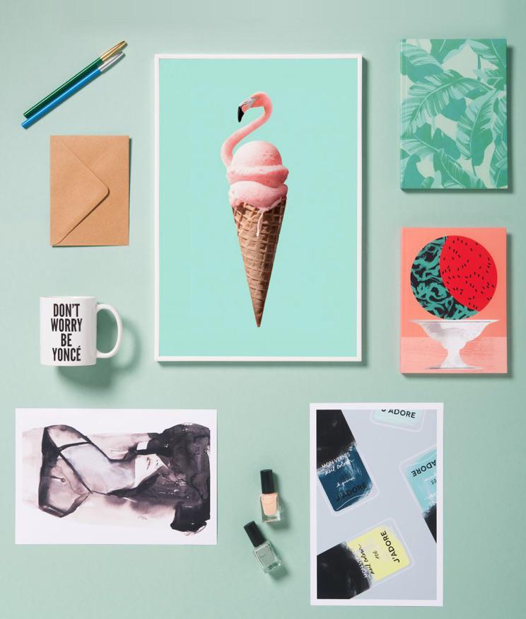 flamingo ice cream design, melon notebook and dont worry beyonce mug