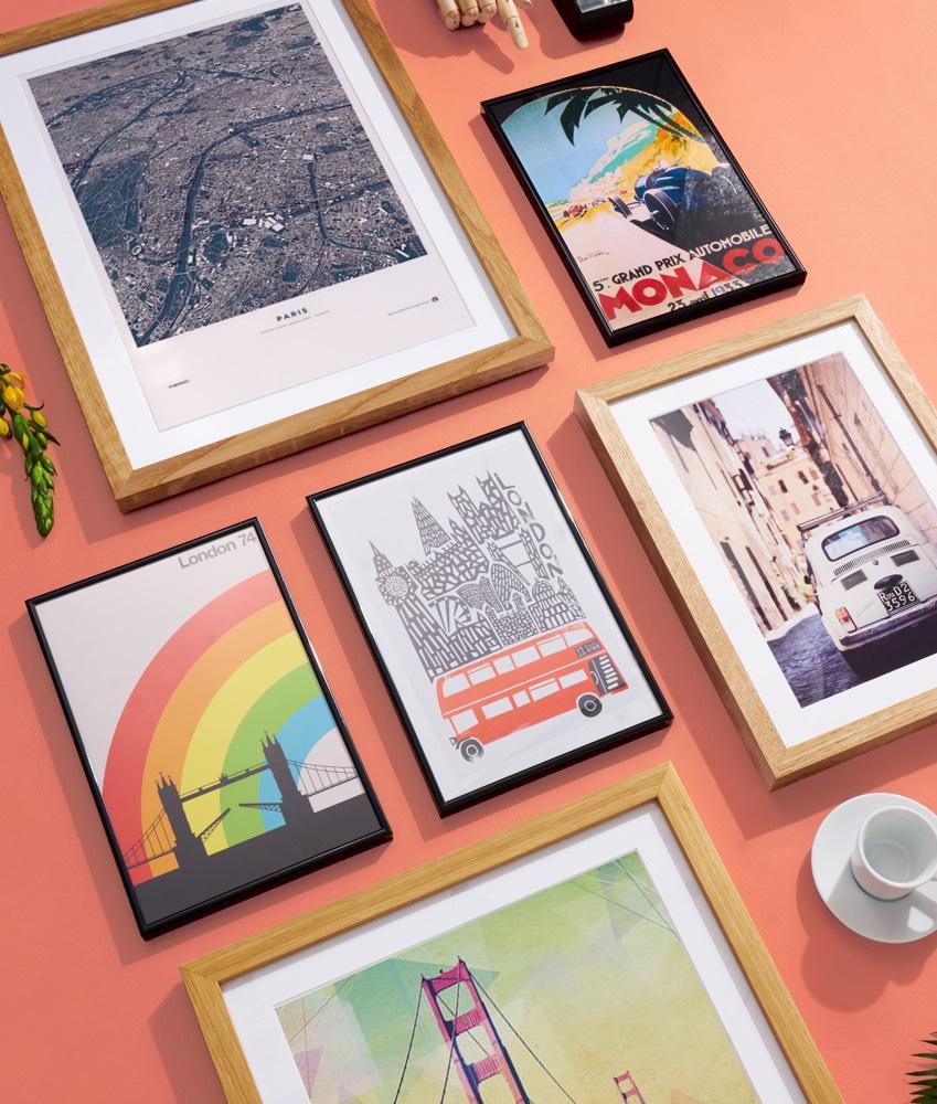 Steden, kaarten en reisposters in houten en kunststof lijst