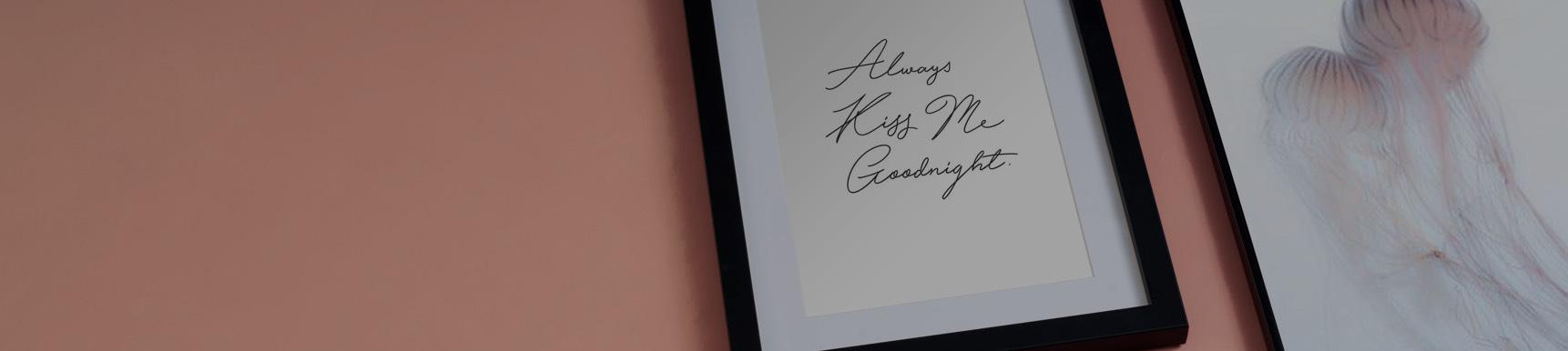 Always kiss me goodnight poster in a frame and illustrations with jellyfish