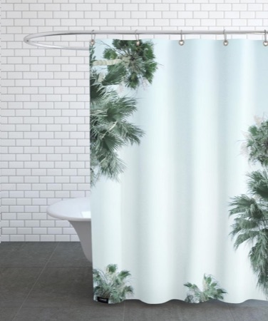 Grey bathroom with palm trees JUNIQE shower curtain