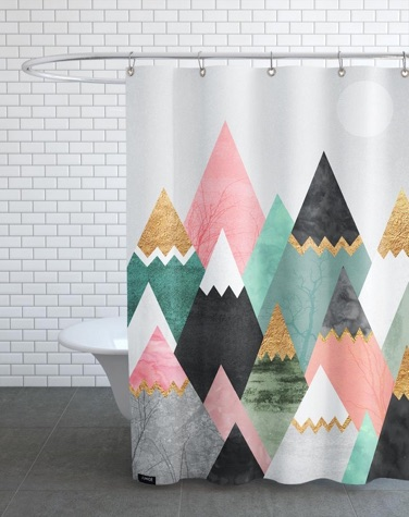 Bathroom with shower curtain featuring colourful graphic mountains