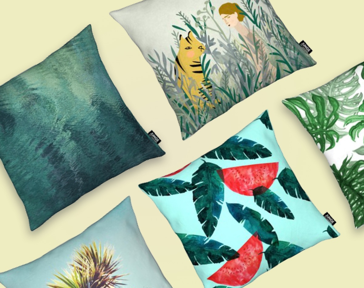 juniqe cushions with green nature prints