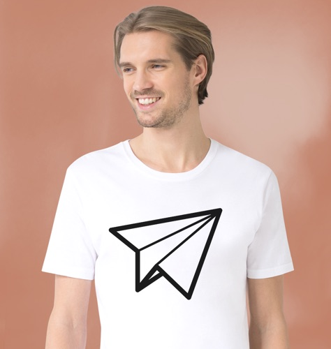 Man wearing white JUNIQE t-shirt with paper plane design