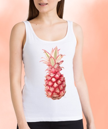 Model wearing white tank top with pink pineapple