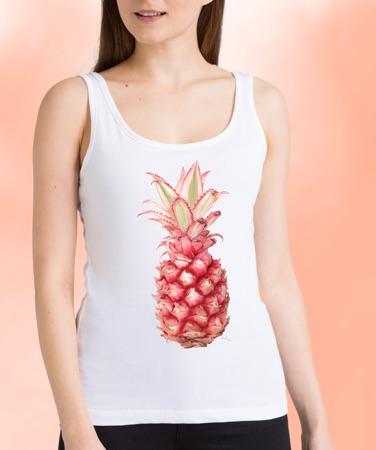 model met witte tanktop met roze ananas
