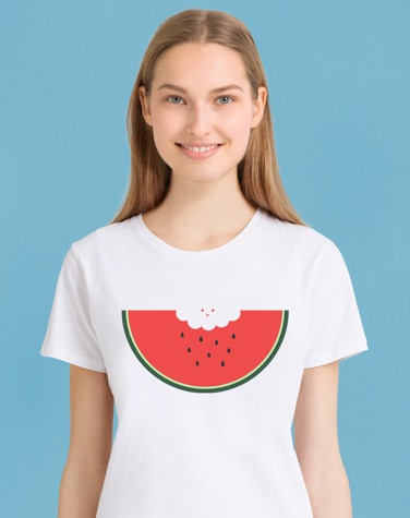 Model with white t-shirt featuring JUNIQE watermelon print