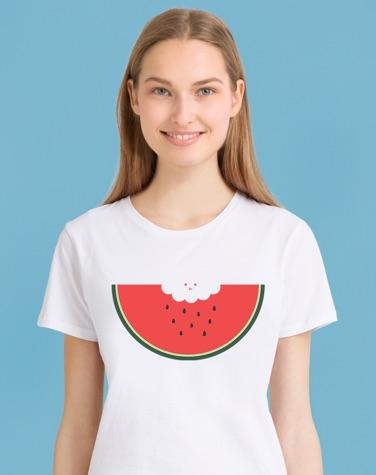 dames T-shirt met watermeloen print
