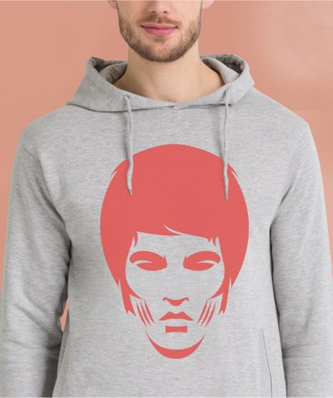 Grey hoodie featuring JUNIQE design of a face in red