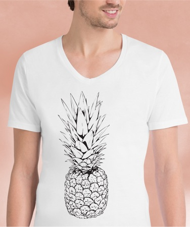 White v-neck t-shirt featuring black graphic pineapple print