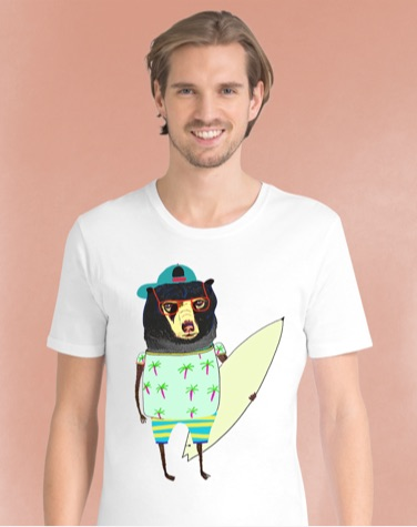 Male model wearing t-shirt with hipster bear