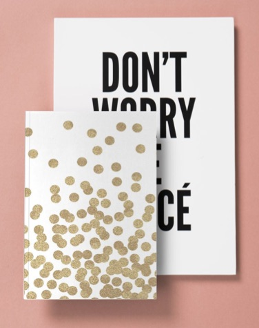 A5 notebook with gold dots and A4 Don't worry be yoncé notebook