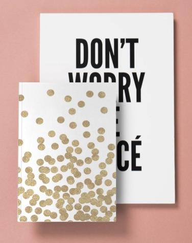 Carnet de note artsy avec le design don't worry be yoncé