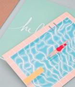 Cartes de voeux bleu ciel et enveloppe papier kraft
