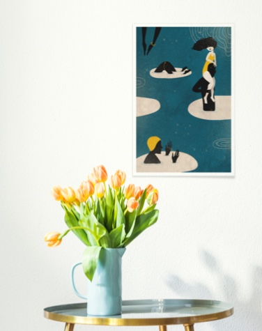 Art print featuring people hanging above a table with tulips